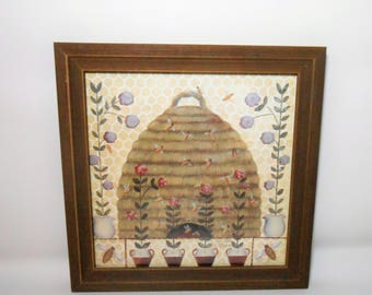 Vintage Carol Endres, Lithograph, Print, Bees, Primitive, Bee Hive, Picture, Wall Decor, Signed, The Heart Of America Portfolio