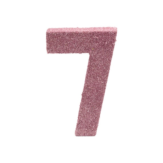 """8"""" Glitter Number 7, Paper Mache Number 7, Giant Blush Pink Number, Centerpiece Number Seven, Table Letters, Large Decorative Pink Birthday"""