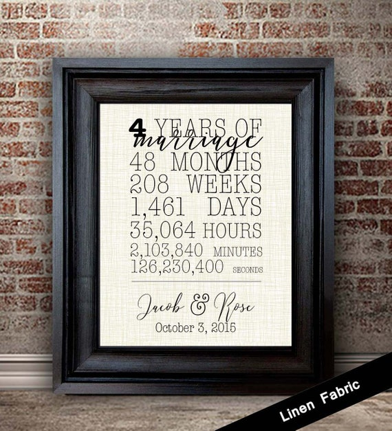 Fourth Year Wedding Anniversary Traditional Gift: 4th Anniversary Gift For Wife 4 Year Anniversary Gift For