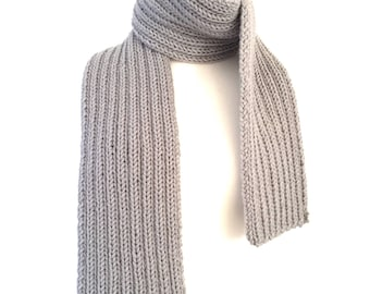 scarf hand knitted vegan friendly ribbed scarf