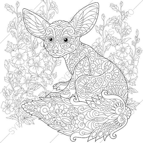 Coloring Pages Animal Coloring Book Pages For Adults Instant Download Print  Fennec Fox Mallow Flowers.