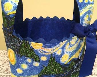 Van Gogh Inspired Starry Night Fabric Basket, Mother's Day Gift Basket , Storage Basket, Organization, Art, Library Book Basket