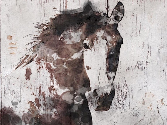 """Gorgeous Horse. Horse Art Large Canvas, Horse Art, Brown Rustic Horse, Rustic Vintage Horse Wall Art Print up to 81"""" by Irena Orlov"""