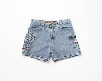 JNCO Flamehead Jeans Denim Shorts 1990s Raver Club Kid Cyber Goth Skater Grunge Vaporwave 90s Cargo Shorts 00s Y2K Small