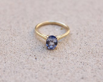 Solitaire Blue Sapphire Ring, 14k Yellow Gold natural 1.72 carats Light Blue Oval Sapphire, Minimal Engagement Ring