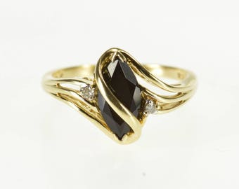 10K Black Onyx Marquise Diamond Accent Wavy Overlay Ring Size 6 Yellow Gold