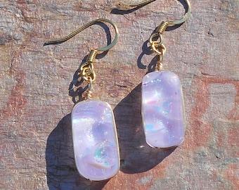 FusedDichroic Art Glass Dangle Earrings