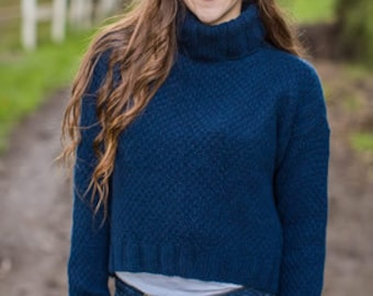 Seed Stitch and Ribbed Turtleneck Pullover Pattern