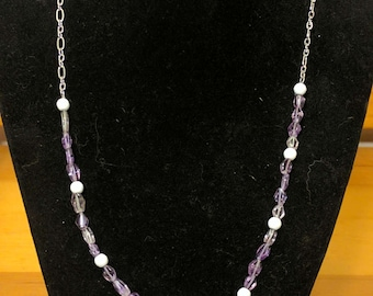 Purple and White single strand necklace