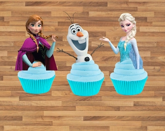 PRINTABLE Frozen Cupcake Toppers, Elsa cupcake toppers, let it go, birthday decorations / Printable Frozen Cupcake toppers / Downloadable