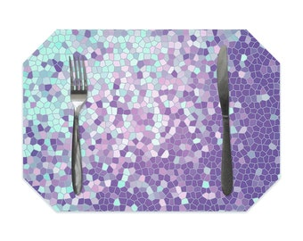 Turquoise and purple placemat, geometric placemat, violet placemat with gray, mosaic placemat, single placemats