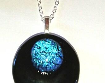 Black Green fuse glass pendant