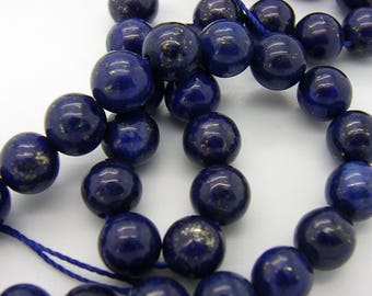 100 8 mm lapis lazuli hole 1 mm natural blue
