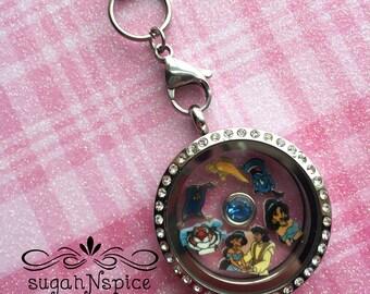 Aladdin Floating Locket - Jasmine Floating Charm - Memory Locket - Jasmine Floating Locket - Aladdin Memory Locket - Stainless Steel Locket