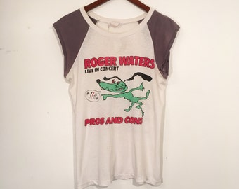 Vintage 80's Roger Waters Pink Floyd Tour Shirt Paper Thin Small
