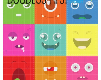 Cute Monster Faces Digital Clip Art for Scrapbooking Card Making Cupcake Toppers Paper Crafts