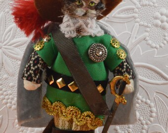 Puss in Boots Doll French Fairy Tale Miniature Art Unique Cat Lover Gift