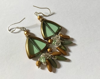 Earrings green and gold beads bronze Art Deco decorated with gold and green Bohemian beads, 925 sterling silver hooks