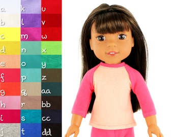 Fits like Wellie Wishers Doll Clothes - The Baseball Raglan Tee, You Choose Colors   14.5 Inch Doll Clothes