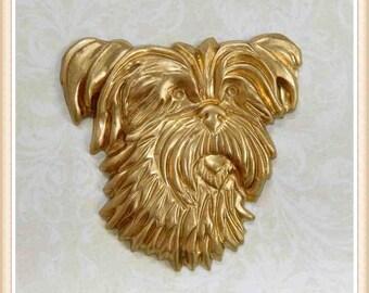 1 piece shaggy dog head vintage raw brass embellishment decoration finding #2726
