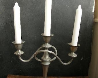 Silver plated candlestick, with candles, shabby look great, Free uk postage