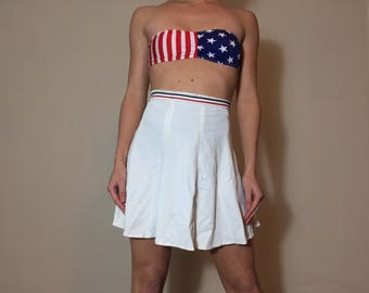 Vintage The Festival Red White and Blue Athletic Tennis High Waisted Mini Skirt Womens Size XS/Small