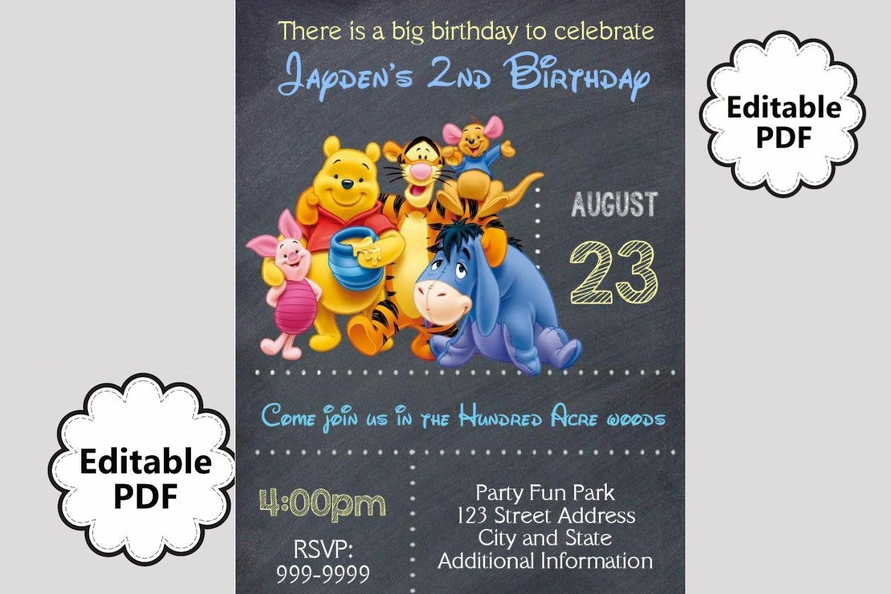 EDITABLE TEXT Winnie the Pooh Birthday Invitation Winnie