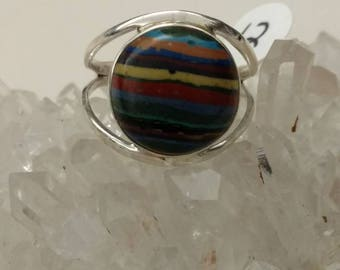 Rainbow Calsilica Party Ring  Size 12