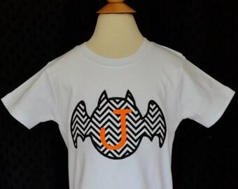 Personalized Halloween Monogram Bat Applique Shirt or Bodysuit for Boy or Girl