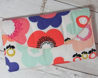 Larger Wallet in Pretty Floral Fabric and Bright Coordinates - Credit Card Pockets, Zip Pocket, Organizer, Floral, Geometric, Orange, Purple