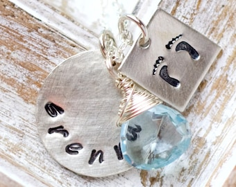 Mother's Necklace, Personalized Necklace, Sterling Silver Stamped Necklace, Personalized Charm, Mothers Jewelry, Necklace for Moms, Kids