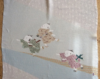 Asian Scarf With Children Playing