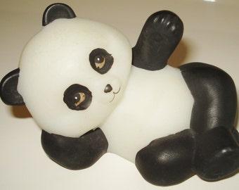 Rare Fenton Glass-Reclining Panda Natural Animals