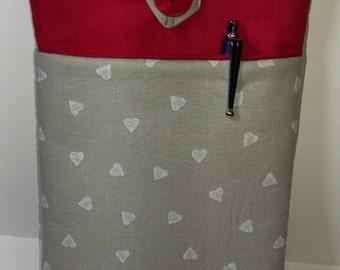Handmade hearts fabric kindle case.