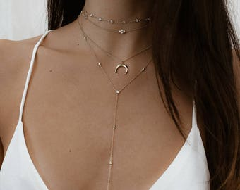 Gold Lariat Necklace, Lariat Necklace, Layering Necklace, Minimal Jewelry, Sterling silver Lariat necklace