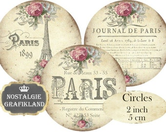 Paris French Eiffel Tower Circles 2 inch France Shabby Chic Printable Instant Download digital collage sheet C254