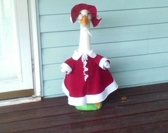 Goose Clothing  -  Mrs. Claus Lawn Goose Outfit for Plastic or Concrete Lawn Goose