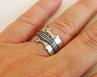 Steampunk Violin Ring, Adjustable, Sterling Silver Finish or Antiqued Brass Finish, Violin Gifts