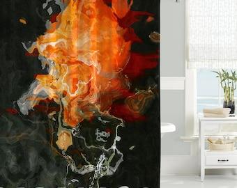 orange and black shower curtain. Abstract art shower curtain  contemporary bathroom decor black and orange aqua