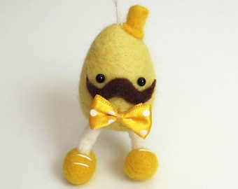 Clearance! Lucky Egg felt Christmas ornament : Needle felted figurine - yellow eggman with a hat and bow tie. Nursery decor.