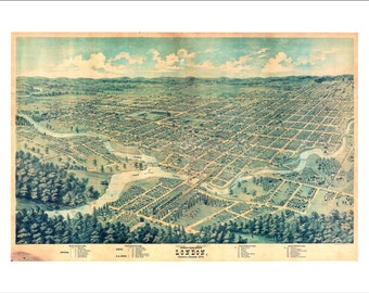 """London Ontario in 1872 Panoramic Bird's Eye View Map by E. S. Glover 22x16"""" Reproduction"""