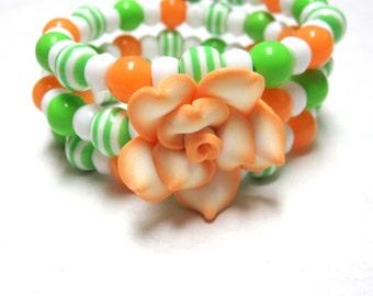 Day of the Dead Bracelet Wrap Green White Peach