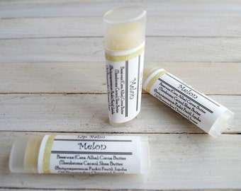 Melon Lip Balm - with Beeswax, Cocoa Butter and Shea Butter - Unsweetened