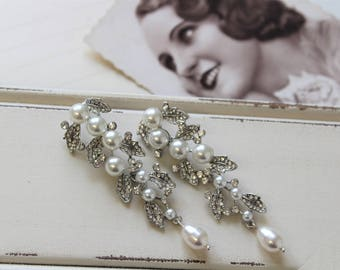 Wedding  Earrings, Pearl Earrings, Vintage Style Earrings ,  Art Nouveau  Earrings , Wedding Jewelry, UK
