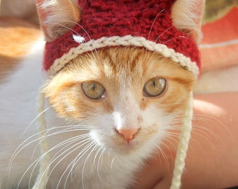 Burgundy Cat Hat, Beanie Hat for Cats & Kittens, Fun Cat Accessories, Hats for Pets, Cat Hat for Cats, Cat Clothing, Kitty Hat for Cats