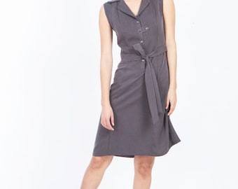 Gray summer dress, sleeveless gray dress, grey button down shirt dress, knee length dress, casual summer dresses, office collar woman dress