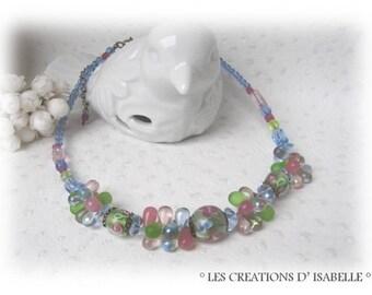 Designer necklace, blue, pink and green ' Pastel' v1
