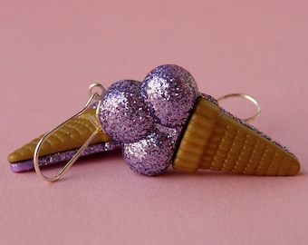 Miniature Ice Cream Cone Earrings - Shimmery Purple Glitter Ice Cream Cones