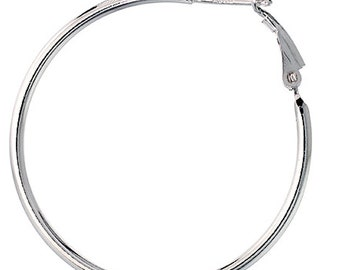 Sterling Silver 2mm Thin Clutchless Hoop Earrings 1.6 inch Long(DCTh2v240)