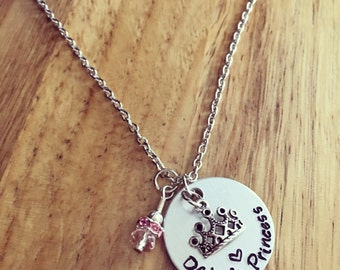 Daddy's Princess hand stamped necklace / gift for girl / princess crown charm / From Dad to daughter / Mommy's princess / daughter gift
